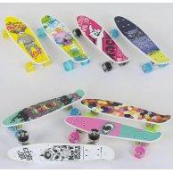 S 29661 Скейт Пенни борд Best Board, 8 видов, колёса PU, СВЕТЯТСЯ, d=4.5 см, доска=55 см