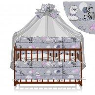 Постельный комплект 7 предметов Зебры цвет серо, розовый ТМ Беби-Текс