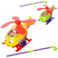 Каталка Вертолет на палочке, 2 цвета, в пакете