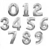 991012 Шар фольгированный Цифра СЕРЕБРО