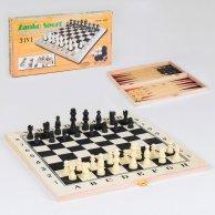 36817 С Шахматы 3в1 деревянная доска